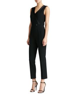 Womens Crepe Marocain Faux Wrap Jumpsuit with Liquid Satin   St. John