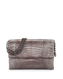 Crocodile Large Flap Shoulder Bag, Anthracite   Nancy Gonzalez