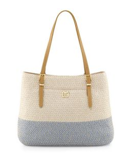 Squishee Jav II Tote Bag, Cream/Blue Tweed   Eric Javits
