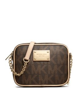 Jet Set Crossbody, Brown Logo Monogram   MICHAEL Michael Kors