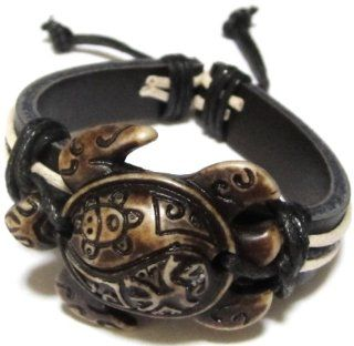 Adjustable Sea Turtle Bracelet with Indian Symbols Engraved   Handmade Black Leather Bracelet   Sea Turtle Leather Bracelet   Brown Turtle with Coqui Taino and Indian Sun Symbol Engraved: Everything Else