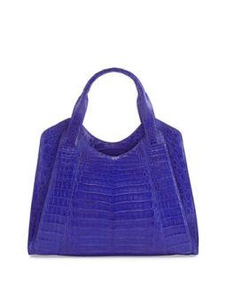 Crocodile Satchel Bag, Blue   Nancy Gonzalez