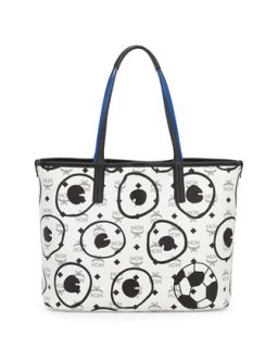 Soccer Special Edition Visetos Shopper Bag, White   MCM