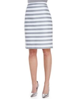 Womens marit striped pencil skirt, fresh white/casino gray   kate spade new