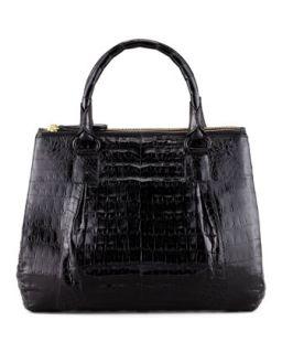 Mini Double Zip Crocodile Tote Bag, Black   Nancy Gonzalez