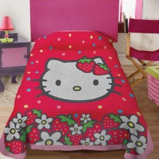 Hello Kitty Strawberry Fleece Blanket Twin / Full   Bed Blankets