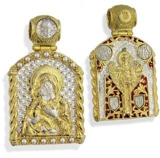 "Designer Inspired St. Mary, Catholic, Virgin of Vladimir St Michael Icon Pendant Sterling Silver 925 14kt Gold Gilding 1 1/2""x8/8"", Hallmarked 14kt Gold Gilding and 925 Sterling Silver on the Back Side St. Michael Icon Picture Shows Both Sides. S"