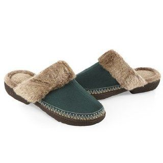 ISOTONER Women's Woodlands Microsuede Fur Chunky Clog Slippers, Spruce 9.5/10: Shoes