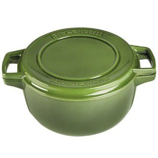 KitchenAid 6 qt. Porcelain Enamel Professional Cast Iron Dutch Oven and Grill Pan, Ivy Green Kitchen & Dining