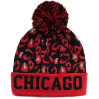 CITY Hunter Sk950 Leopard College Pom Beanie Hat   Chicago (Black/red) at  Men�s Clothing store: