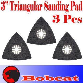 "Pack of 3 Triangular 3"" Sanding Pad w/ Velcro Oscillating Multi Tool Saw Blades sand for Fein Multimaster Bosch Multi x Craftsman Nextec Dremel Multi max Ridgid Dremel Chicago   Power Oscillating Tool Blades"