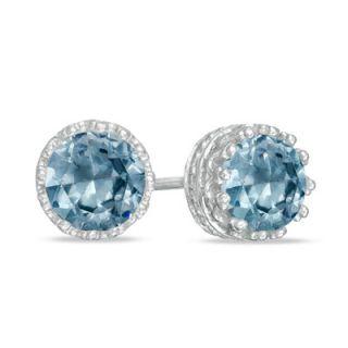 0mm Lab Created Aquamarine Crown Earrings in Sterling Silver   Zales