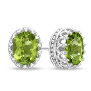 Oval Peridot Crown Earrings in Sterling Silver   Zales