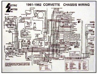 1961 1962 Corvette C1 Wiring Diagram 17X22 Laminated: Automotive