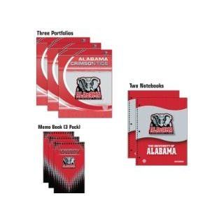 ALABAMA CRIMSON TIDE Logo School Combo 8 Pack   (3) Two Pocket PORTFOLIOS (2) One Subject NOTEBOOKS (3) MEMO BOOKS : Sports Related Merchandise : Sports & Outdoors