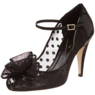 Kate Spade New York Women's Didi Open Toe Pump, Black Mesh/Black Patent, 8 M US Pumps Shoes Shoes