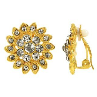 Agatha's Clear Rhinestone Clip On Earrings   Gold Tone Emitations Jewelry