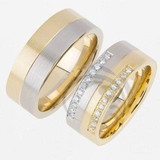 14k White Yellow Gold His and Her Wedding Rings 0.22 ct 8 mm: Jewelry