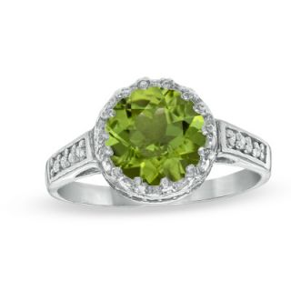 0mm Peridot and White Topaz Crown Ring in Sterling Silver   Zales