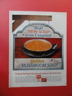 Campbell soup, 1967 Print Ad. (Golden mushroom soup.) Original Vintage Magazine Print Art.