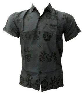 La Leela Lizard And Floral Printed Beach Hawaiian Shirt S at  Men�s Clothing store Button Down Shirts