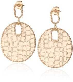 "GALA by Daniela Swaebe ""Crocodile"" Rose Gold Disc Earrings: Jewelry"