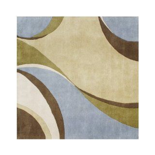 Shop ZnZ Rugs Gallery, 2695_6Ft Sq, Hand Made Light Green New Zealand Blend Wool Rug, 1, Blue, Dark Olive Green, Brown, 6Ft Sq' at the  Home D�cor Store. Find the latest styles with the lowest prices from ZnZ Rugs Gallery