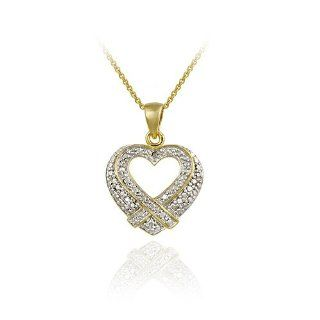 Gold Tone over Sterling Silver Diamond Accent Cross over Open Heart Pendant Jewelry