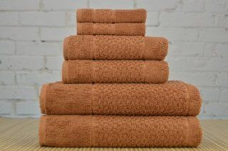 Mei Tal 6 Piece Luxury Jacquard Collection 100 Percent Turkish Cotton Towel Set (Light Brown)