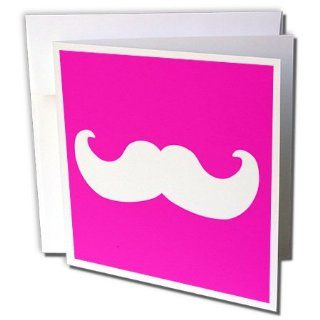 gc_58332_1 InspirationzStore Mustache Collection   White mustache on hot pink   Ironic hipster moustache   Humorous   Fun   Whimsical   Silly   Funny   Greeting Cards 6 Greeting Cards with envelopes : Blank Greeting Cards : Office Products
