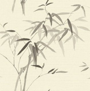 Wallpaper Designer Charcoal Gray and Black Bamboo Leaves on Off White