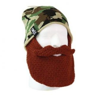 Beard Cap   Wear Your Very Own Beard & Mustache!!   Perfect for Duck Dynasty Fans, Skiers, Snowboarders, Sports Fans and People Who Enjoy All Types Of Outdoor Activities! (One size fits (almost) all, Brown Skully Duke): Costume Headwear And Hats: Cloth