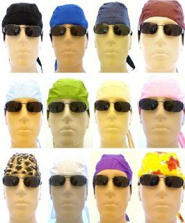 Set of 12 Assorted Biker Caps/ 1 Dozen Skull Caps/ Medical Caps/ Bandana Wraps for Men, Women and Teens in Various Colors/ Designs Not Limited to White, Black, Red, Brown, Lime Green, Blue, Olive Green, Pink, Purple, Sky Blue, Navy Blue, Yellow, Orange, H
