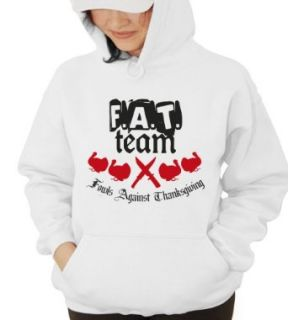 F.A.T. Team Fowls Against Thanksgiving Hooded Sweatshirt white XL: Clothing