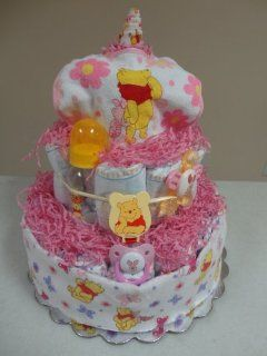 Winnie The Pooh and Piglet Baby Girl 3 Layer Diaper Cake Gift Package   Comes Decoratively Wrapped Making it a Great Gift or Shower Centerpiece   Other Gift Options Also Available: Health & Personal Care