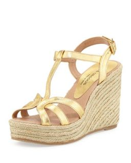 Jaime Metallic Raffia Gladiator Wedge, Gold   Andre Assous