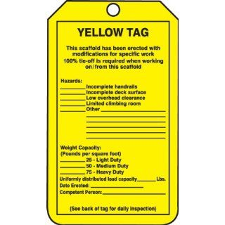 "Accuform Signs TRS208CTP PF Cardstock Scaffold Tag, Legend ""YELLOW TAG This scaffold has been erected with modifications/Inspection"", 3 1/4"" Width x 5 3/4"" Height, Black on Yellow (Pack of 25): Industrial Lockout Tagout Tags: Industrial"