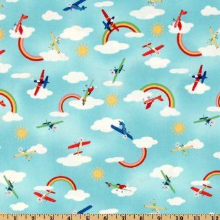Michael Miller Retro Fly Away Sky Fabric