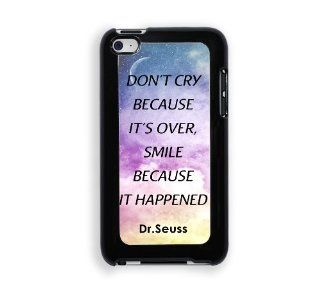 Dr. Seuss Quote   Don't Cry Because It's Over Smile Because It Happened Galaxy Sky Protective Designer Snap On Case   Fits Apple iPod Touch 4 : MP3 Players & Accessories