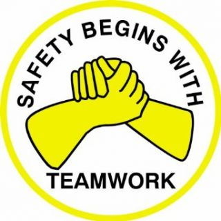 """Brady 42269, Hard Hat Emblems, Black/Yellow on White, Legend """"Safety Begins With Teamwork"""" (4 per Card) Labels Industrial & Scientific"""