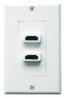 Single Gang Decora Wall Plate in White (HDMI Female(2)  Passthru): Electronics