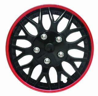 """14"""" Black and Red Lacquer/Plastic Wheel Cover Hubcaps, Pack of 4  7043: Automotive"""