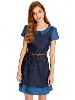 Oasis Olivia patched dress Denim