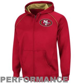 San Francisco 49ers Coverage Sack III Synthetic Performance Full Zip Fleece Hoodie   Scarlet