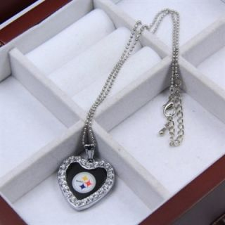 Touch by Alyssa Milano Pittsburgh Steelers Ladies Crystal Heart Team Logo Pendant Necklace