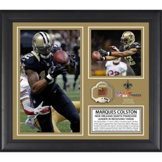 Marques Colston New Orleans Saints Franchise All Time Receiving Yards Record Framed 15 x 17 Collage with Game Used Ball   Limited Edition of 500