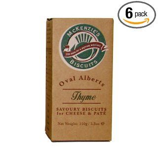 McKenzie's Biscuits, Oval Alberts Savory Crackers for Cheese and Pate, Thyme Flavor, 5.3 Ounce Boxes (Pack of 6) : Grocery & Gourmet Food