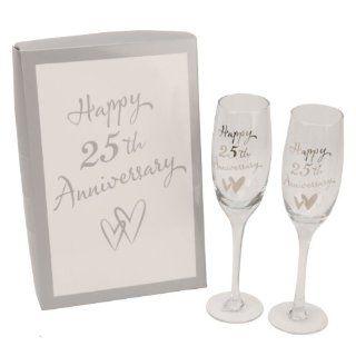 Pair of Champagne Flute Glasses 25th Anniversary Design   Wine Glasses