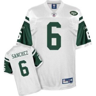 Reebok NFL Equipment New York Jets #6 Mark Sanchez White Premier Football Jersey