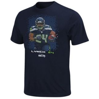 Marshawn Lynch Seattle Seahawks 8 Bit Player T Shirt   College Navy